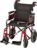NOVA Lightweight Transport Chair with Locking Hand Brakes, 12' Rear Wheels, Removable & Flip Up Arms for Easy Transfer, Anti-Tippers Included, Red