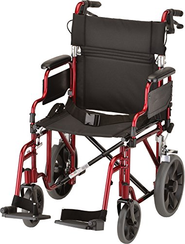 "NOVA Lightweight Transport Chair with Locking Hand Brakes, 12"" Rear Wheels, Removable & Flip Up Arms for Easy Transfer, Red"