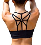 YIANNA Women's Padded Sports Bra Cross Back High Impact Wirefree Strappy Workout Activewear Running Yoga Bra,YA-BRA139-Black-M