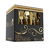 Syllux Gold Plastic Silverware|300 Pieces Disposable Wedding Silverware | BPA FREE 100 Knives, 100 Forks, 100 Spoons| Heavy Duty Gold Plastic Flatware | Full Size Cutlery Combo