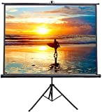 VIVO 100' Portable Indoor Outdoor Projector Screen, 100 Inch Diagonal Projection HD 4:3 Projection Pull Up Foldable Stand Tripod (PS-T-100)