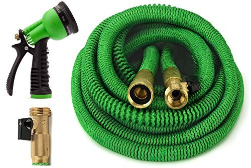 GrowGreen Garden Hose 75 Feet Expandable Hose with All Brass Connectors, 8 Pattern Spray Nozzle and High Pressure, Expanding Garden Hose (Renewed)