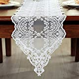 Tina Wedding Party Home Decoration Embroidered Lace Table Runner And Scarves White, 12x84'