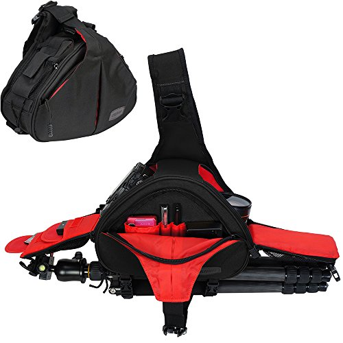 DSLR Camera Sling Bag for 1 Camera, 2 Lens, Tripod, Rain Cover (Canon Nikon Sony Pentax)