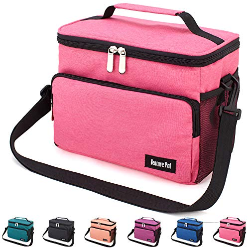 Leakproof Reusable Insulated Cooler Lunch Bag - Office Work Picnic Hiking Beach Lunch Box Organizer with Adjustable Shoulder Strap for Women,Men-Pink