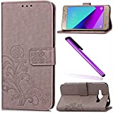 Samsung Galaxy J2 Prime Case Cover EMAXELER Stylish Wallet Cover Embossing Kickstand Credit Cards Slot Cash Pockets PU Leather Flip For Samsung Galaxy J2 Prime Clover Gray