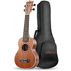 Afuaim Soprano Ukulele 21 Inch Ukulele Hawaii Guitar Matte Sapele Small Guitar Pack with Gig Bag (AUS-21M)