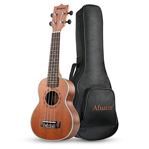 Afuaim Soprano Ukulele 21 Inch Ukulele Hawaii Guitar Matte Sapele Small Guitar Pack with Gig Bag (AUS-21M)
