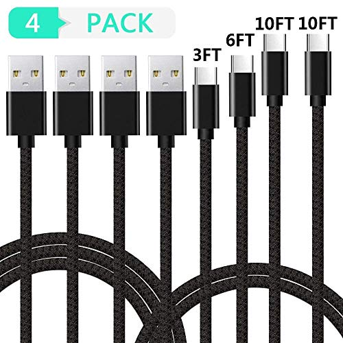 USB Type C Cable,LIAOINTEC USB C to USB A Fast Charging & Data Sync Cord (4-Pack,3FT 6FT 10FT 10FT) for Samsung Galaxy S10 S9 S8 Plus Note 9 8,Moto Z,LG V30 V20 G5,Nintendo Switch and More