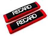 NEW Red Seat Belt Cover Shoulder Pads Pairs with Embroidery RECARO Racing Logo