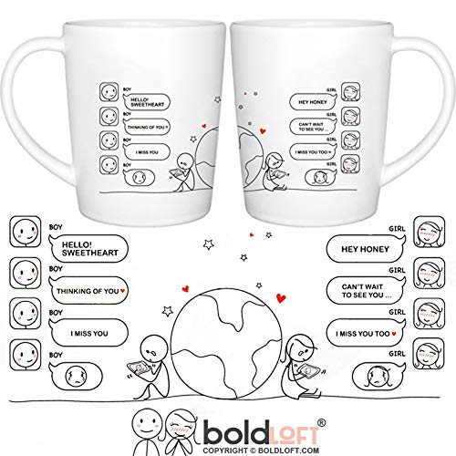 BOLDLOFT Wish You Were Here Couple Coffee Mugs- Long Distance Relationships Gifts, Long Distance Mugs, Couples Gifts, His and Hers Gifts, LDR Gifts,Anniversary Gifts,Boyfriend Gifts,Girlfriend Gifts