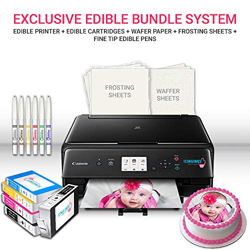 Icinginks Edible Printer Art Package - Comes with Edible Printer, Edible Cartridges, 20 Wafer Paper, 5 Frosting Sheets, Set of Standard Edible Markers - Best Cake Image Printer, Canon Edible Printer