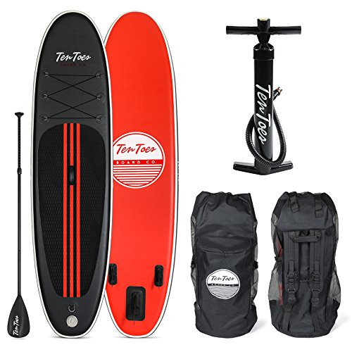 Ten Toes Weekender Inflatable Stand Up Paddle Board Bundle, Black/Red, 10'
