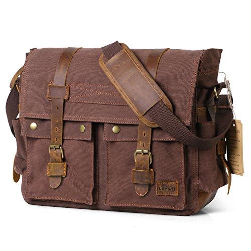 Lifewit 15.6'-17.3' Men's Messenger Bag Vintage Canvas Leather Military Shoulder Laptop Bags