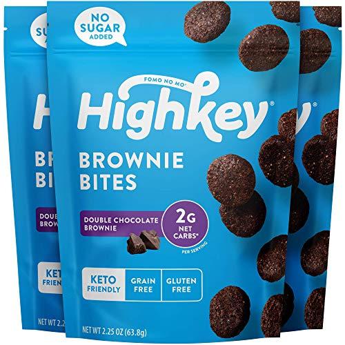 HighKey Snacks Keto Low Carb Food Chocolate Brownie Cookie Bites – Paleo, Diabetic Diet Friendly – Gluten Free, Low Sugar Dessert Treats & Sweets & Ketogenic Products Healthy Protein Brownies, Pack of 3 (Package may vary)