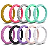 Mokani [10 Pack] Silicone Wedding Ring for Women, Thin and Braided Rubber Band, Fashion, Colorful, Comfortable fit, Skin Safe