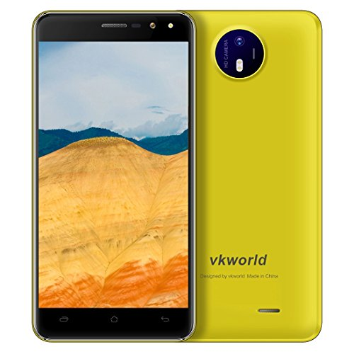 VKworld F2 2GB+16GB 5.0 Inch 2.5D Android 6.0 MTK6580A Quad Core up to 1.3GHz WCDMA & GSM (Yellow)