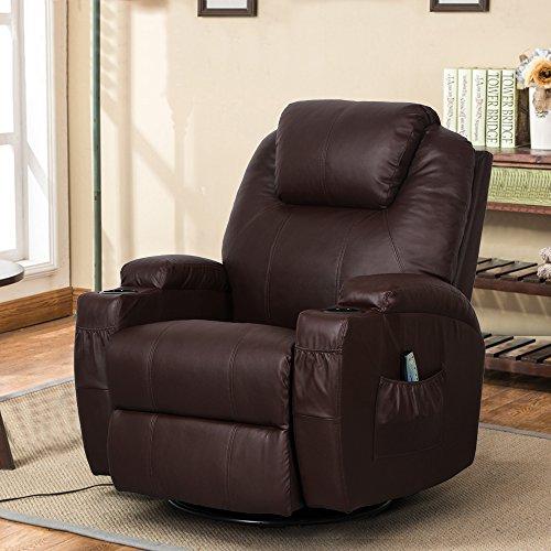 Esright Massage Recliner Chair Heated PU Leather Ergonomic Lounge 360 Degree Swivel (Espresso)