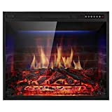 Xbeauty 30' Electric Fireplace Insert Recessed in Wall Freestanding Heater w/Large Screen Multicolor Flames,Adjustable Flame Speed,Remote Control,750w/1500w,Black