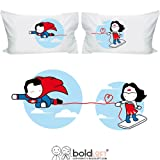 BOLDLOFT Made for Loving You Couples Pillowcases-Superman Gifts for Men, Valentines Day Gifts for Boyfriend, Husband Gifts, Couple Gifts, His and Hers Gifts, Superhero Gifts for Men, Wonder Woman Gift