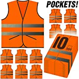 PeerBasics, 10 Pack Safety Vest with Pockets, Reflective High Visibility, Hi Vis Silver Strip, Men & Women, Work, Cycling, Runner, Crossing Guard, Road, Construction (Neon Orange Knitted, 10)