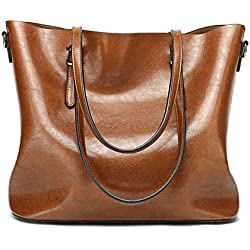 Abshoo Women Soft Leather Handbags Tote Bags (Brown)