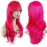 AKStore Women's Heat Resistant 28-Inch 70cm Long Curly Hair Wig with Wig Cap, Rose