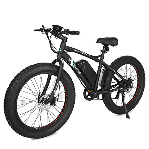 """ECOTRIC Fat Tire Electric Bike Beach Snow Bicycle 26"""" 4.0 inch Tire Aluminum Ebike Powerful 500W Motor Electric Mountain Bicycle 36V/12AH Lithium Battery (Black)"""