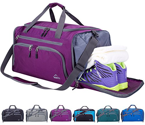 Venture Pal 20' Packable Sports Gym Bag with Wet Pocket & Shoes Compartment Travel Duffel Bag for Men and Women-Purple