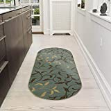 Ottomanson Ottohome Collection Collection Contemporary Leaves Design Non-Skid Rubber Backing Modern Area Rug, 2' X 5' Oval, Seafoam