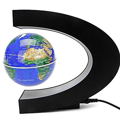 Senders Floating Globe with LED Lights C Shape Magnetic Levitation Floating Globe World Map for Desk Decoration (Dark Blue)
