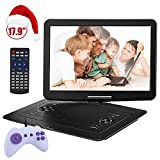 YOOHOO 17.9'' Large Portable DVD/CD Player with 15.6'' 270°Swivel High Definition LCD Screen,6 Hours Rechargeable Battery,Support CD/DVD/SD Card/USB
