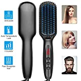 Hair Straightener, Ionic Hair Straightening Brush with Anti-Scald and Auto Temperature Lock, PTC Ceramic Beard Hair Straightener Brush, Dual Voltage Hair Straightener Comb for Home, Travel and Salon