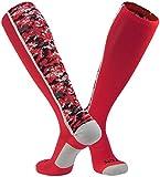 TCK Sports Digital Camo Over The Calf Socks (Scarlet, Small)
