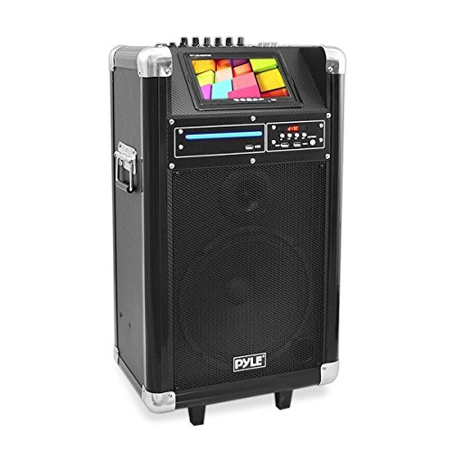 Pyle Portable Pa Speaker Karaoke Machine Speaker Boombox Wireless Microphone  Sound System Wireless Bluetooth Built-In Battery,  MP3 USB SD FM Radio , Use for DJ, Stage Monitor  (PKRK10)
