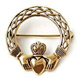 LynnAround Bronze Norse Irish Claddagh Brooches, Clothes Fasteners - Cloak/Scarf / Shawl Pin, Vintage Jewelry