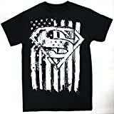 Changes Superman Emblem & Flag Men's Black Shirt, Large