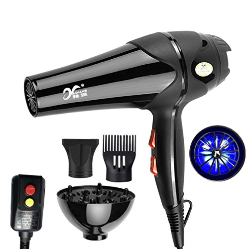 REBUNE 3000W-3600W Hair Dryer High-Power Hot/Cold Wind Pro 5-Speed Free Nozzles Styling Tools Salons Hair Drier For Home&Salon With Leakage Protection Switch