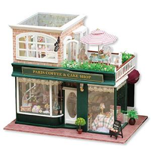 Toy Set DIY Wooden Dollhouse Handmade Miniature Kit- Coffee& Cake Shop Model & Furniture for Creative Assembled Birthday Gift Early education supplies 51mTLHs6IsL