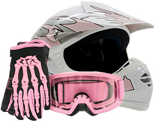 Youth Kids Offroad Gear Combo Helmet Gloves Goggles DOT Motocross ATV Dirt Bike MX Motorcycle Pink - XL