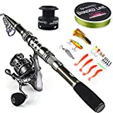 Sougayilang Telescopic Fishing Rod Reel Combos with Carbon Fiber Fishing Pole Spinning Reels and Fishing Accessories for Travel Ocean Saltwater Freshwater Fishing(2.4M/7.87FT)