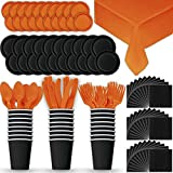 Paper Tableware Set for 24 - Black & Orange - Dinner and Dessert Plates, Cups, Napkins, Cutlery (Spoons, Forks, Knives), and Tablecloths - Full Two-Tone Party Supplies Pack