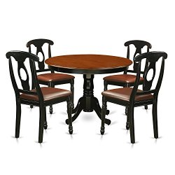 5 Pc set with a Round Kitchen Table and 4 Leather Dinette Chairs in Linen White