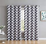 HLC.ME Chevron Print Thermal Insulated Energy Efficient Room Darkening Blackout Window Curtain Grommet Top Panels for Bedroom & Nursery - Set of 2 - 52' W x 84' L - Grey