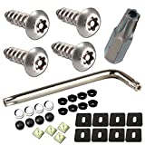 License Plate Screws Anti Theft - 34PC Bulk M6 3/4' Stainless Steel Tamper Resistant License Plate Bolts Nuts Lock Fasteners and Black & Chrome Caps for Acura, Audi, BMW, Tesla etc. License Plates
