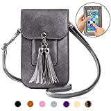 Small Fringe Crossbody Bag Cell Phone Purse Wallet with Touch Screen Window Carabiner Credit Card Slots for Women Gift Silver