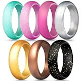 ThunderFit Silicone Rings, 7 Pack Wedding Bands for Women - 5.5 mm Wide (Teal Black Pink Glitter, Pink Bronze Silver Gold, 3.5-4 (14.9mm))