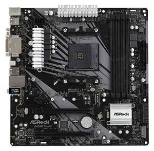 ASRock-B450M-PRO4-F-Socket-AM4-AMD-Promontory-B450-DDR4-Quad-CrossFireX-SATA3USB31-M2-AGbEMicroATX-Motherboard