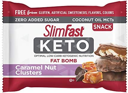 SlimFast Keto Fat Bomb Snacks - Chocolate Caramel Nut Clusters - 14 Count Box - Pack of 4 - Pantry Friendly 3