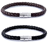 FIBO STEEL 2PCS Stainless Steel Braided Leather Bracelet for Men Women Wrist Cuff Bracelet 8.0 inches